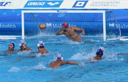 Water Polo / Ball Flies Into The Goal royalty free stock photo