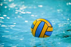 A water polo ball floating on the water in a pool. stock images