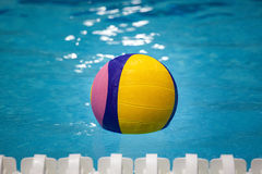 Water polo ball. In a swimming pool Stock Photography