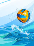 Water polo ball in a swimming pool. Set of backgrounds to sports themes Stock Illustration