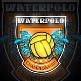 Water polo ball between water splash in center of shield. Vector sport logo on blackboard for any team. Or competition stock illustration