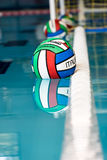 Water polo balls on swimming pool Royalty Free Stock Images
