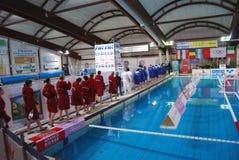 Water polo de las mujeres, Italia-Hungría Foto de archivo libre de regalías