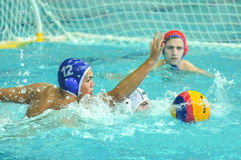 Water polo game competitors during ukrainian open championship Royalty Free Stock Photos