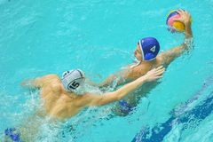Water polo game competitors during ukrainian open championship Stock Image