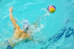Water polo game competitors during ukrainian open championship Royalty Free Stock Images