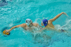 Water polo game competitors during ukrainian open championship Stock Images