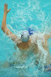 Water polo game competitors during ukrainian open championship Stock Photos