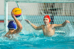 Water polo game competitors during ukrainian open championship Royalty Free Stock Photo