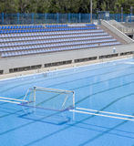 Water polo goal at the outdoor swimming pool Royalty Free Stock Images
