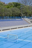 Water polo goal at the outdoor swimming pool Stock Photos