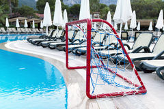 Water Polo Goals near  pool Stock Photography