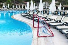 Water Polo Goals near  pool Stock Photos