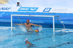 Water Polo / Keeper Didn't Have A Chance. Russian goalkeeper couldn't stop Macedonian penalty shot. Detail from the match Russia - Macedonia 9:10, European Water stock image