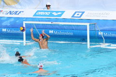 Water Polo / Keeper Saved His Net. Romanian goalkeeper blocked Turkish striker's shot and saved his net. Detail from the match Turkey - Romania 6:12, European stock images