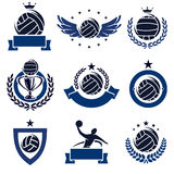 Water polo labels and icons set. Vector Royalty Free Stock Images