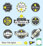 Water Polo League Champs Labels. Collection of water polo league champions labels and stickers with retro style Stock Photo