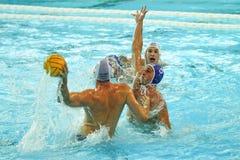 Water polo match. Croatia wins against France. RIJEKA, CROATIA April 5: LEN Water Polo Europa Cup, Men`s SUPER FINAL, RIJEKA CRO. Croatia wins epic match against Stock Photos