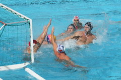 Water Polo / Panic In Front Of Goal Royalty Free Stock Photos