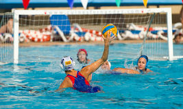 Water polo player shooting Royalty Free Stock Image