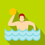 Water polo player in swimming pool icon flat style Royalty Free Stock Photo