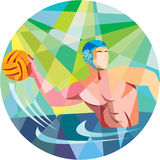 Water Polo Player Throw Ball Circle Low Polygon