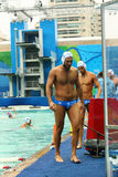 Water Polo Team Greece  before Rio 2016 Olympics Men`s Preliminary Round Group A match Royalty Free Stock Photography