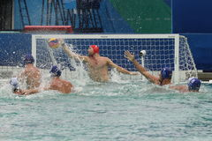 Water Polo Team Greece in white scores during Rio 2016 Olympics Men`s Preliminary Round Group A match against Team Hungary Stock Image