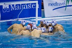 Water polo Team Pro Recco psyching up Stock Photography