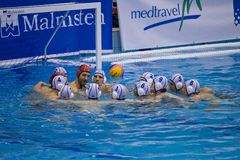 Water polo Team Pro Recco psyching up Stock Photo