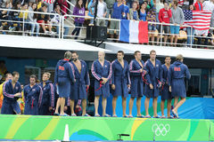 Water Polo Team USA before Rio 2016 Olympics Men`s Preliminary Round match against Team France at the Maria Lenk Aquatic Center. RIO DE JANEIRO, BRAZIL - AUGUST Stock Image