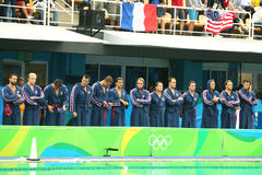 Water Polo Team USA before Rio 2016 Olympics Men`s Preliminary Round match against Team France at the Maria Lenk Aquatic Center Stock Photo