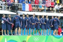 Water Polo Team USA before Rio 2016 Olympics Men`s Preliminary Round match against Team France at the Maria Lenk Aquatic Center. RIO DE JANEIRO, BRAZIL - AUGUST Stock Photo
