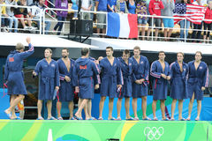 Water Polo Team USA before Rio 2016 Olympics Men`s Preliminary Round match against Team France at the Maria Lenk Aquatic Center. RIO DE JANEIRO, BRAZIL - AUGUST Royalty Free Stock Images