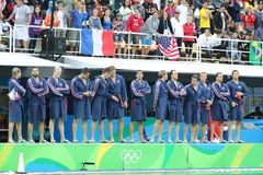 Water Polo Team USA before Rio 2016 Olympics Men`s Preliminary Round match against Team France at the Maria Lenk Aquatic Center. RIO DE JANEIRO, BRAZIL - AUGUST Royalty Free Stock Image