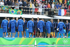 Water Polo Team USA and Team France before Rio 2016 Olympics Men`s Preliminary Round match at the Maria Lenk Aquatic Center. RIO DE JANEIRO, BRAZIL - AUGUST 10 Royalty Free Stock Images