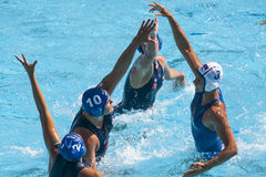 Water polo women. Hungary vs russia Royalty Free Stock Images