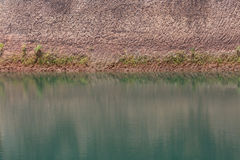 Water pond and earth soil texture effect. From ore mine mining industry stock photo