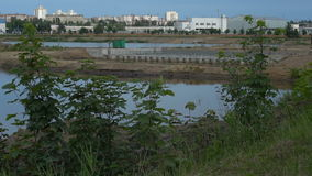 Water pond in industrial factory stock video
