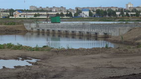 Water pond in industrial factory stock footage