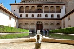 Water pool at the Alhambra Palace in Andalucia, Spain. royalty free stock images