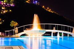 Water Pool And Fountain At Night Stock Images