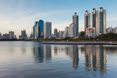 Water pool in Bangkok city with office building royalty free stock photos