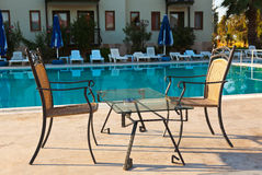 Water pool and cafe in hotel royalty free stock image