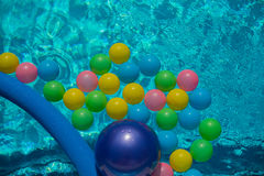 Water in the pool with colorful balls, background. Water in the blue pool with colorful balls, background, closeup Stock Photography