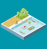 Water Pool Fun Concept. Vector 3d flat isometric poll with people are having fun Stock Photo