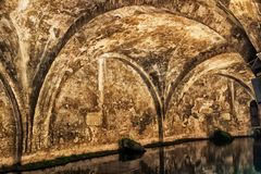 Water pool inside ancient old Fontebranda fountains in Siena. Tuscany, Italy Royalty Free Stock Images
