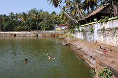 Water pool near the hindu temple Royalty Free Stock Images