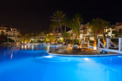 Water pool at night. Vacation background Stock Images