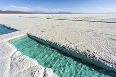 Water pool on Salinas Grandes Jujuy, Argentina. Salt water pool on the Salinas Grandes salt flats in Jujuy province, northern Argentina Stock Photo